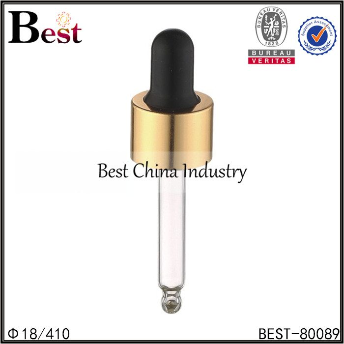 gold aluminum essential oil dropper cap 18/410