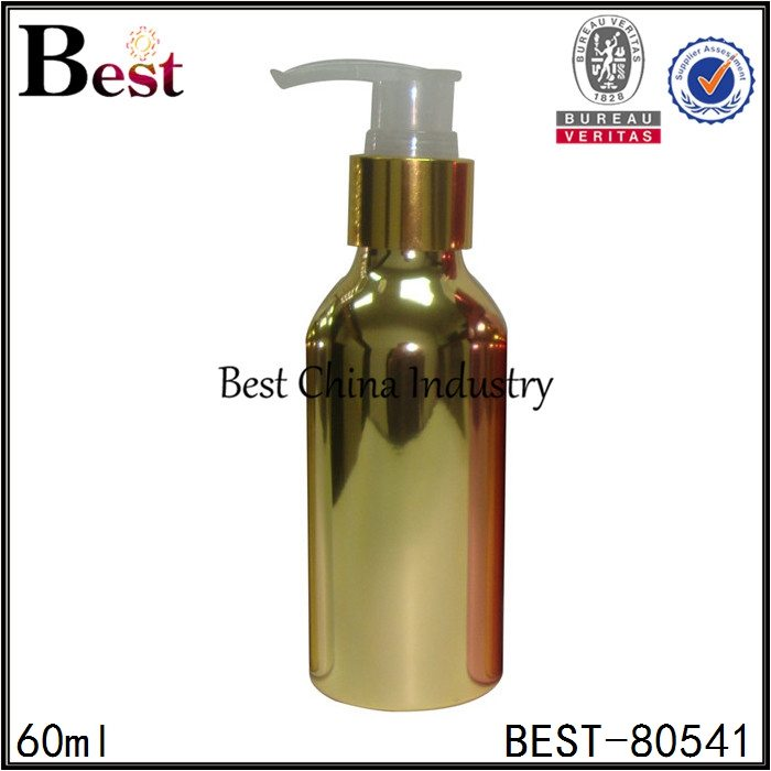 cosmetic gold aluminum bottle with lotion pump 60ml