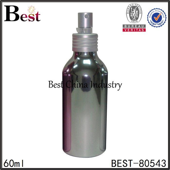 shiny silver cosmetic aluminum bottle with fine sprayer 60ml