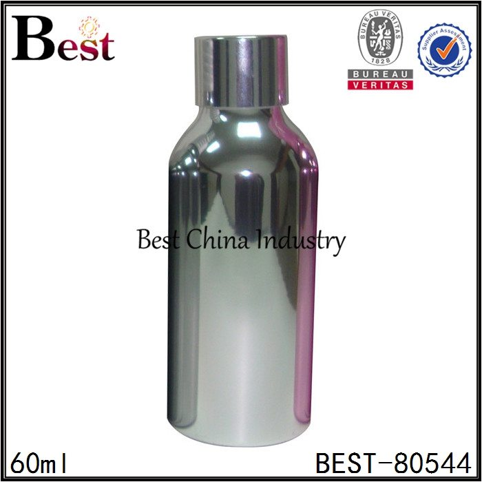 cosmetic shiny silver aluminum bottle with screw cap 60ml
