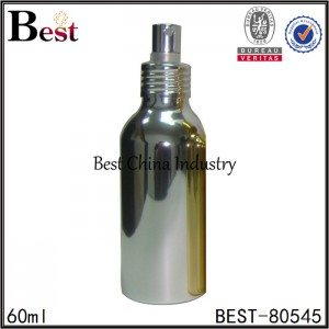 shiny silver cosmetic aluminum bottle with sprayer 60ml