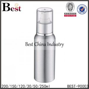 silver aluminum bottle with lotion pump and cap 30/50/120/150/200/250ml