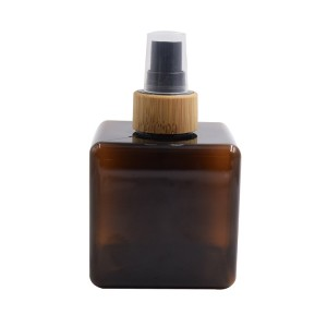250ml square cosmetic plastic bottle with bamboo pump