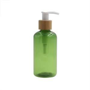 150ml green cosmetic plastic bottle with bamboo pump