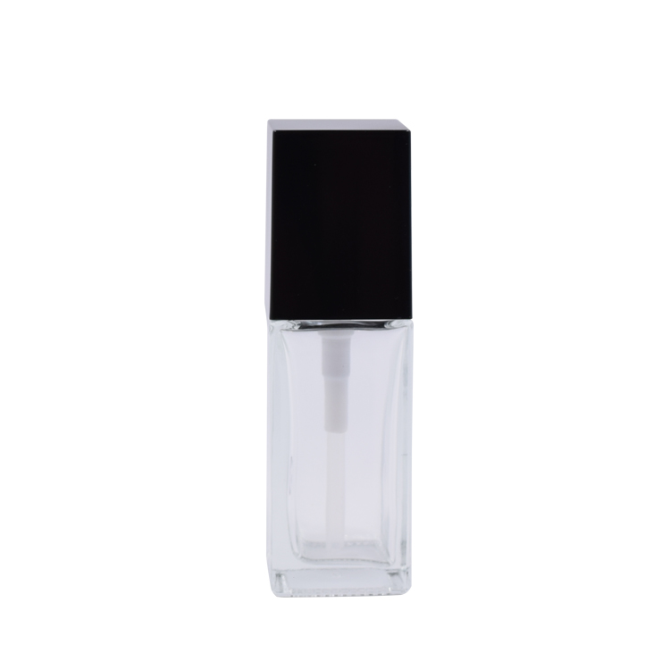 20ml 30ml 40ml clear foundation packaging square glass lotion pump bottle with black lid