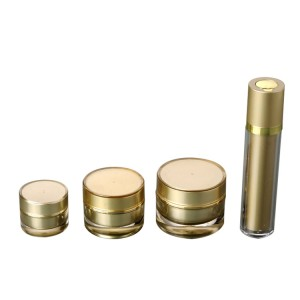 luxury gold double wall acrylic cosmetic container
