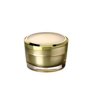 gold color double wall round acrylic cream empty jar