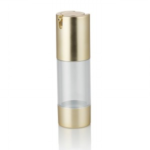 gold pump luxury airless cosmetic lotion bottle