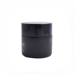 custom colored matte black glass 50g cream jars 50ml black glass jar with LOGO printing