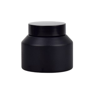 luxury 15g 30g 50g 100g cosmetic matte black glass cream jar with black lids
