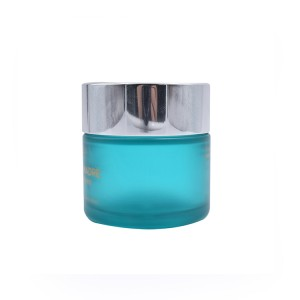 straight sided round glass eye cream jar 50ml 50g ocean blue frosted glass jar with silver metal lid