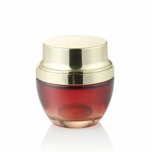 Luxury 20g 30g 50g gradient red color glass cosmetic cream jar with gold lid