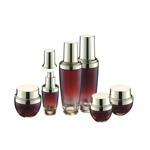luxury 20ml 30ml 50ml 100ml gredient red cosmet glass bottles20g 30g 50g cream glass jars