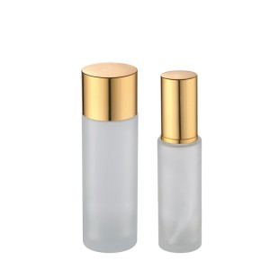 30ml 100ml clear frosted glass bottles with gold lid and pump