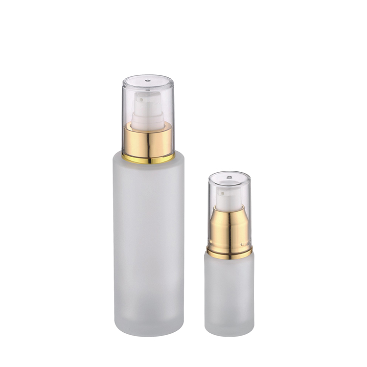 20ml 100ml 120ml cosmetic usage frosted glass gold pump bottle