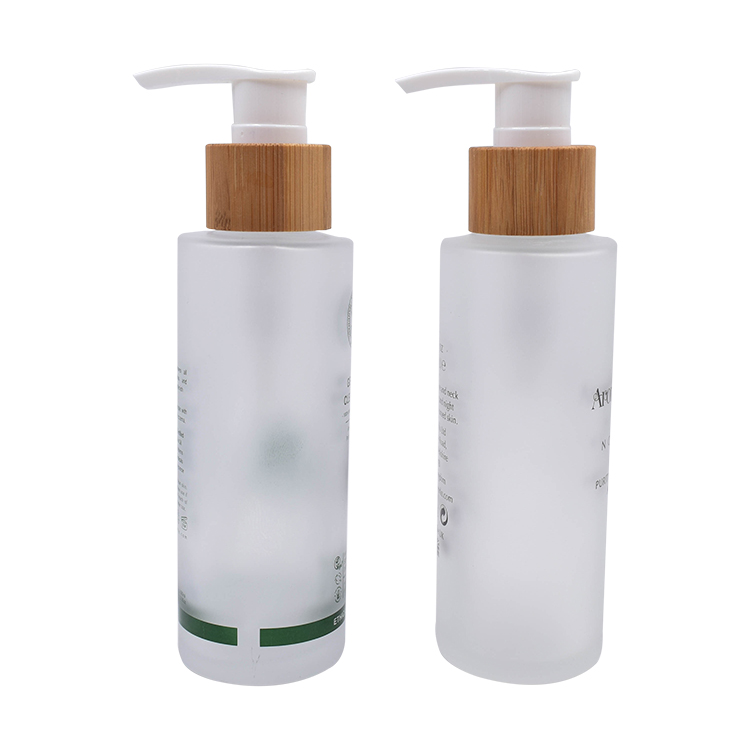 frosted glass lotion bottle with bamboo pump
