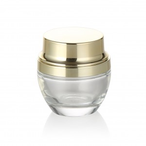 Luxury 20g 30g 50g clear glass cream jar with gold metal lid