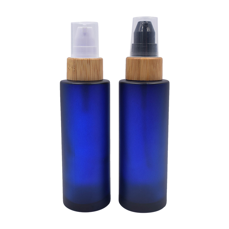 frosted blue glass lotion bottles with lotion pump 100ml 120ml
