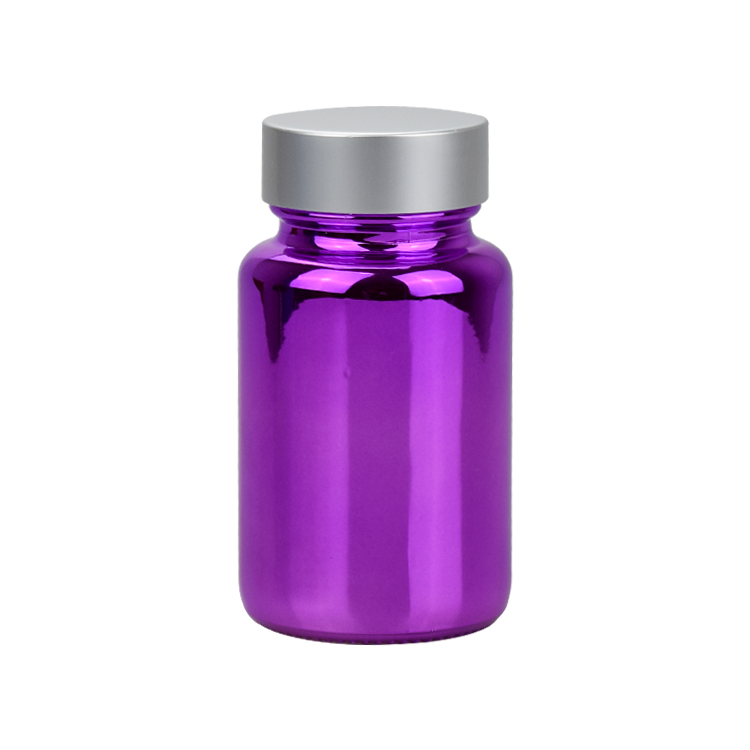 100ml electroplate purple pharmaceutical glass pill bottle for tablet