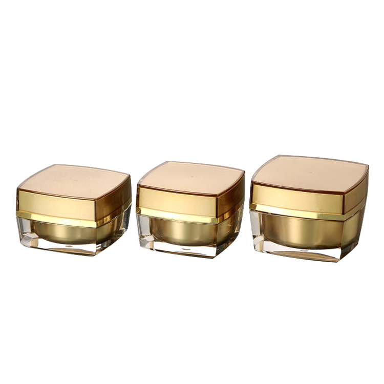 Luxury gold acrylic square cosmetic empty cream jar