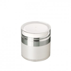 white airless cosmetic pump serum jar