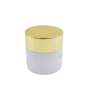 50ml 50g custom air tight sealed inner lid white glass hair cream jar with gold metal lid