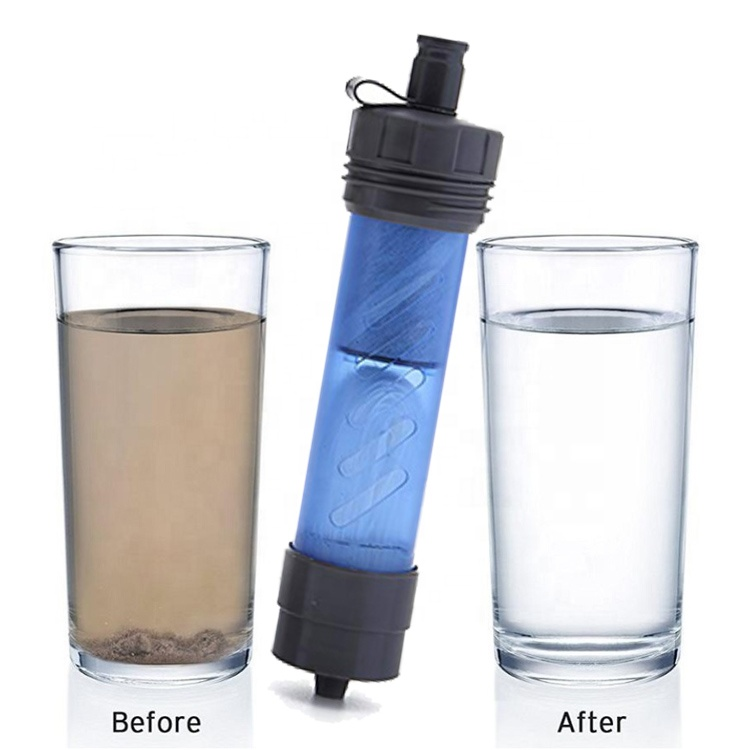 BPA Free Sports Water Treatment System 2 Stage pilter Personal nga Water Filter Kay gawas Survival Emergency