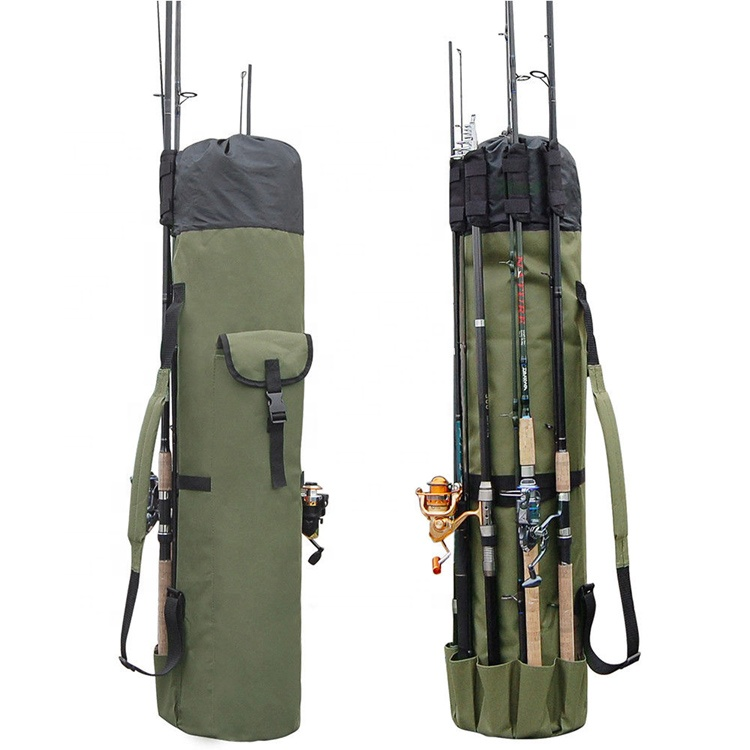 Waterproof Fishing Bag Fishing Rod Bag Case Carrier Holder Multi-Pocket Storage Carry Bag