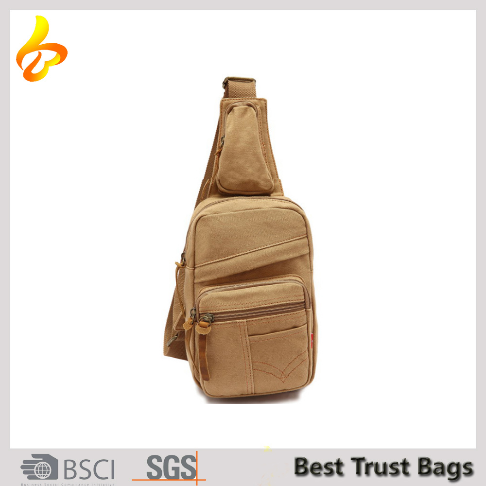 Outdoor Sports Canvas Backpack Crossbody Sling Bag Shoulder Bag Men Chest Bag
