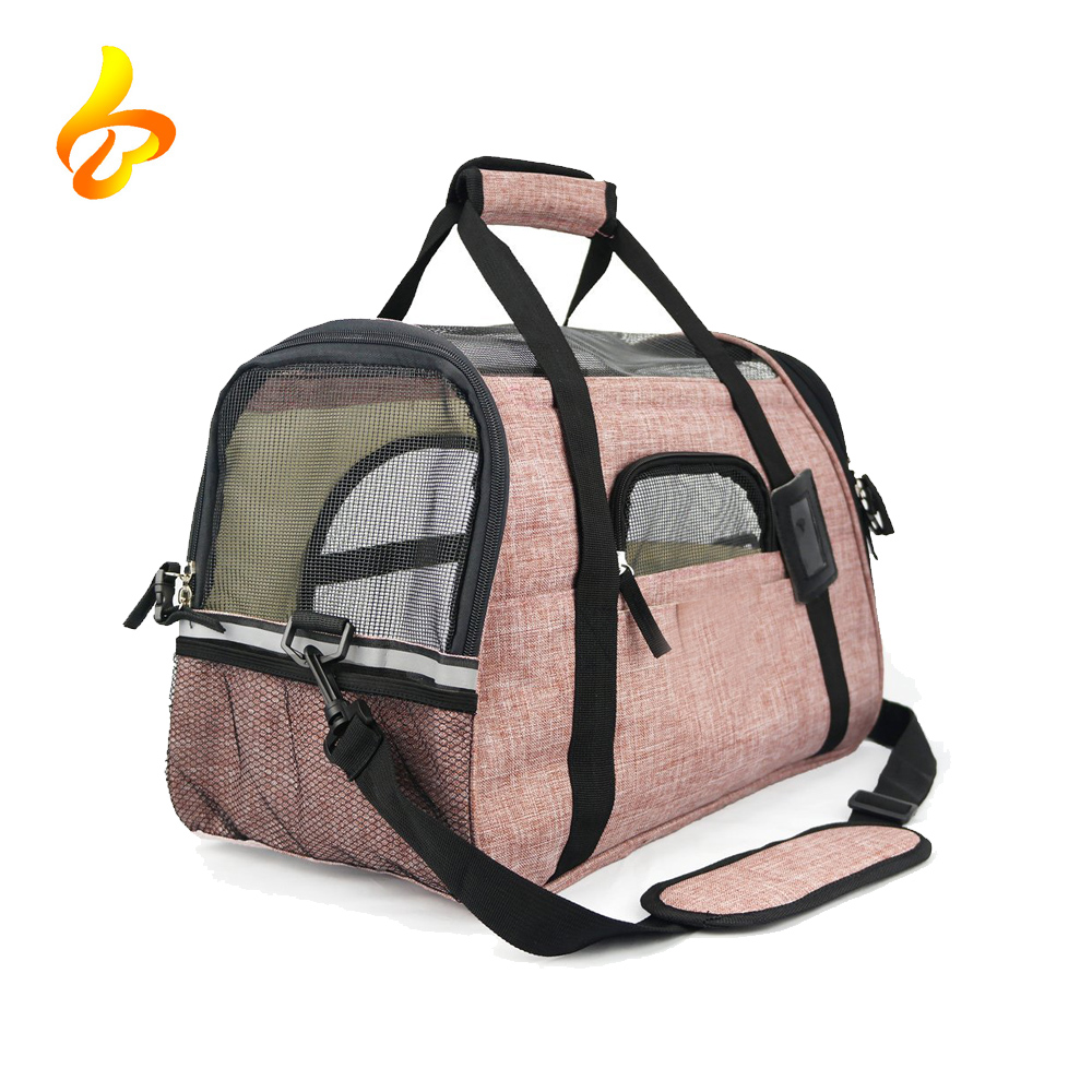 Wholesale Soft-Sided Two Pet Mats Small Dogs Pink Pet Carrier Bag