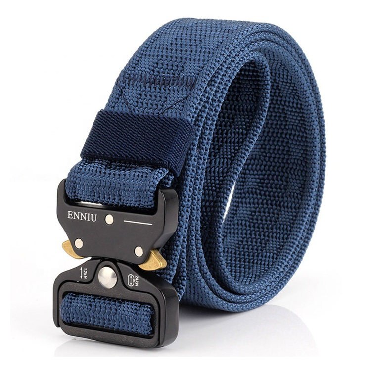 "Hot Selling Blue Color 1.5 inch 30"" 50"" Waist Outdoor Heavy-Duty Quick-Release Military Nylon Belt For Man"