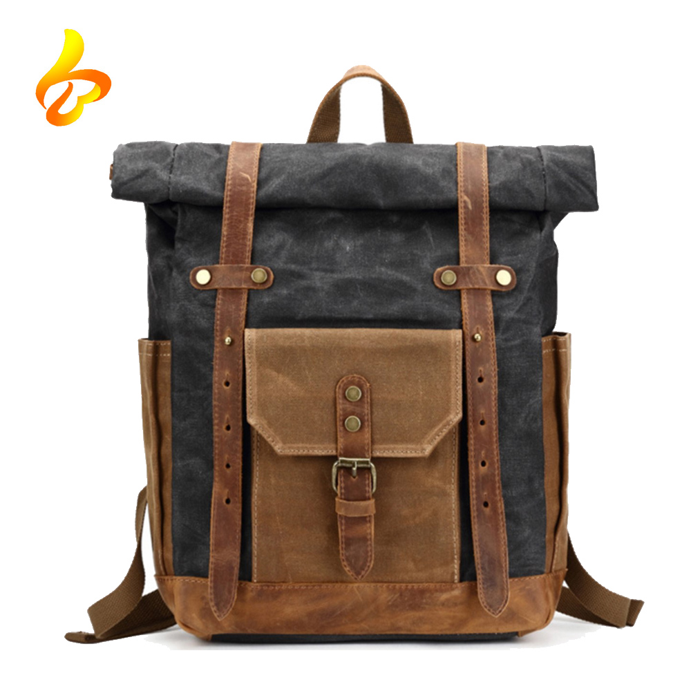 Waterproof Waxed Canvas Leather College Weekend Travel laptops Backpack