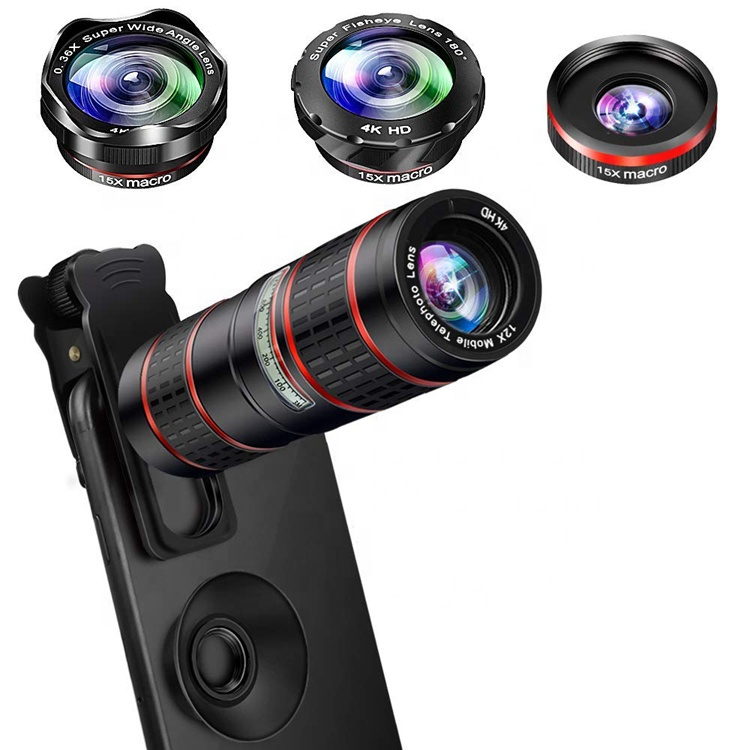 5 in 1 Lens 180 degree Fisheye 0.36x Wide Angle Marco 15x Telephoto 12x Telescope Lens For Mobile Phone
