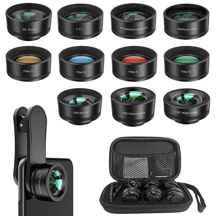Upgraded 11 in 1 Zoom Telephoto 198 Degree Fisheye 0.36x Wide Angle CPL 4 Color Filter Phone Camera Lens