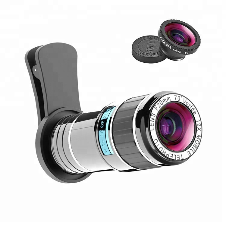 Universal Optical 12x Zoom Mobile Phone Telephoto Lens With Fisheyes For Watching Birds