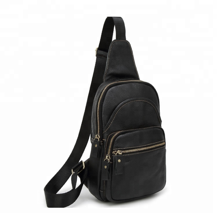 Outdoor Business Backpack Crossbody Sling Bag Single Strap Leather Shoulder Wallet for Men