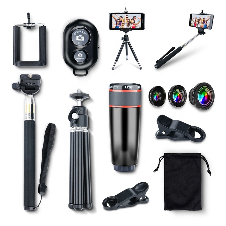 10 in 1 Kit 180 degree Fisheye 0.65 Wide Angle Lens Wide Angle 12X Telephoto Lenses For Mobile Phone