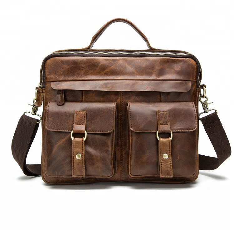 Classic Business Leather Khaki Messenger Bag For Men, Vintage Men Leather Shoulder Bag