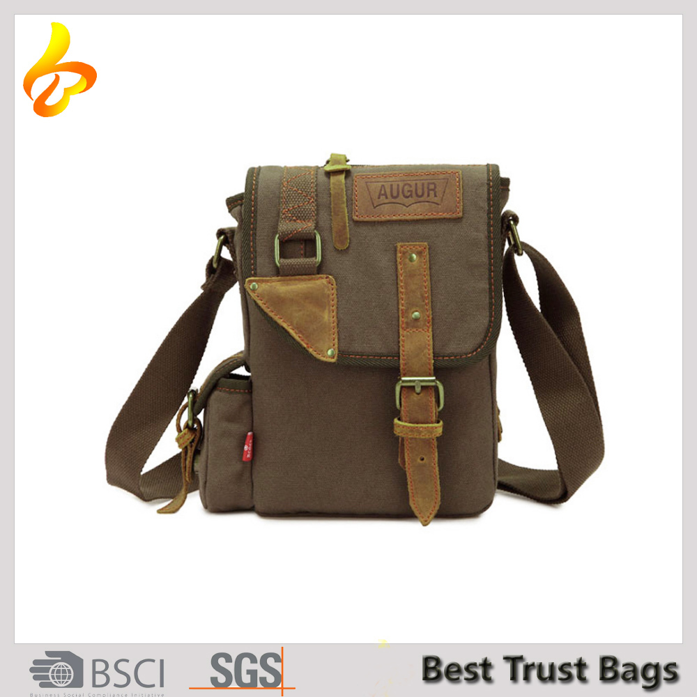 Vintage Cotton Canvas Messenger Bag Shoulder Satchel Crossbody Bag Hiking Traveling Bag for Men and Women