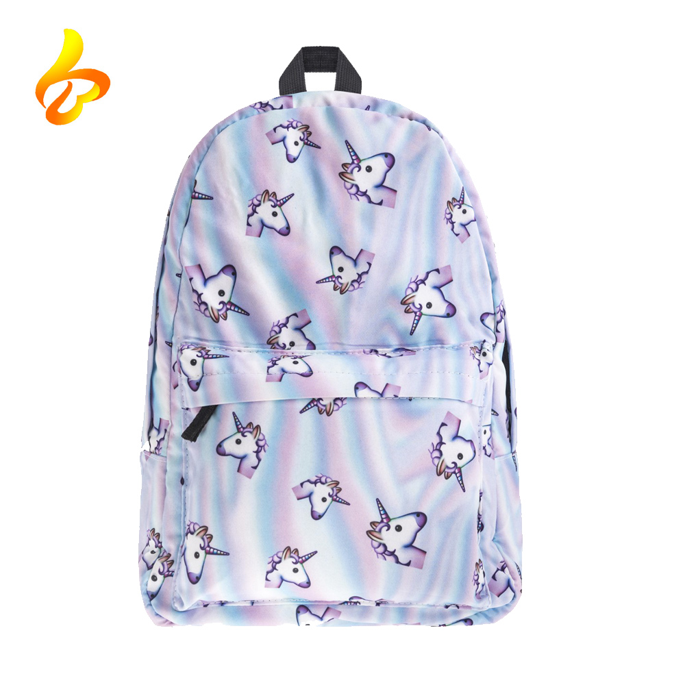 Wholesale Polyester Sublimation 3D Printing School Rucksacks Unicorn Backpack for Teenager Girls