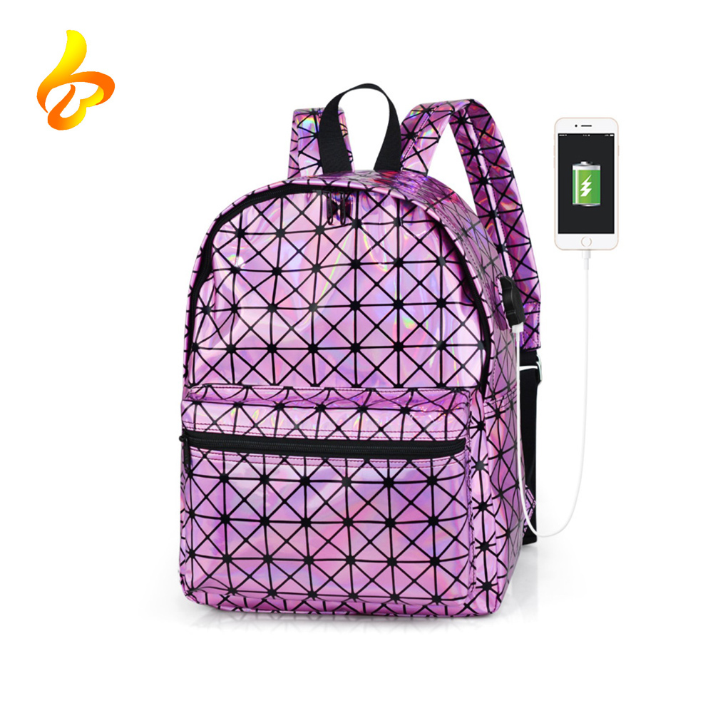 USB Charger Wholesale Laser Holographic Shiny PU School Backpack Bag , Women Holographic Backpack For Sale