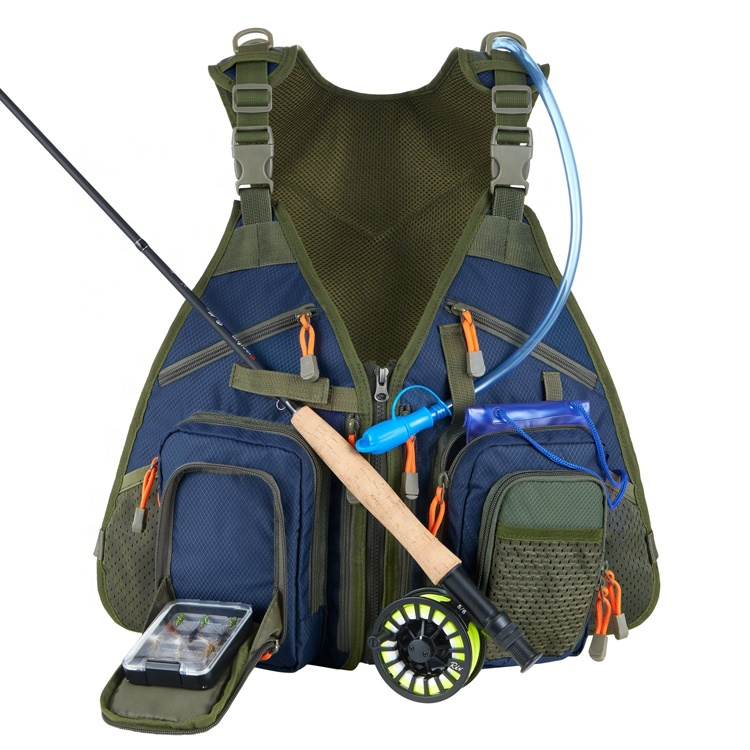 Men Fishing Vest Backpack Adjustable Size Fishing Vest Pack for Tackle and Gear Includes Water Bladder