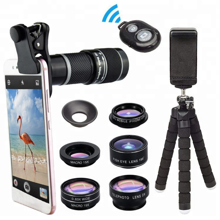 Cell Phone Lens Kit, 198 degree Fisheye 0.63 Wide Angle Marco 15x CPL Telephoto 18x Telescope Lenses For Smartphone