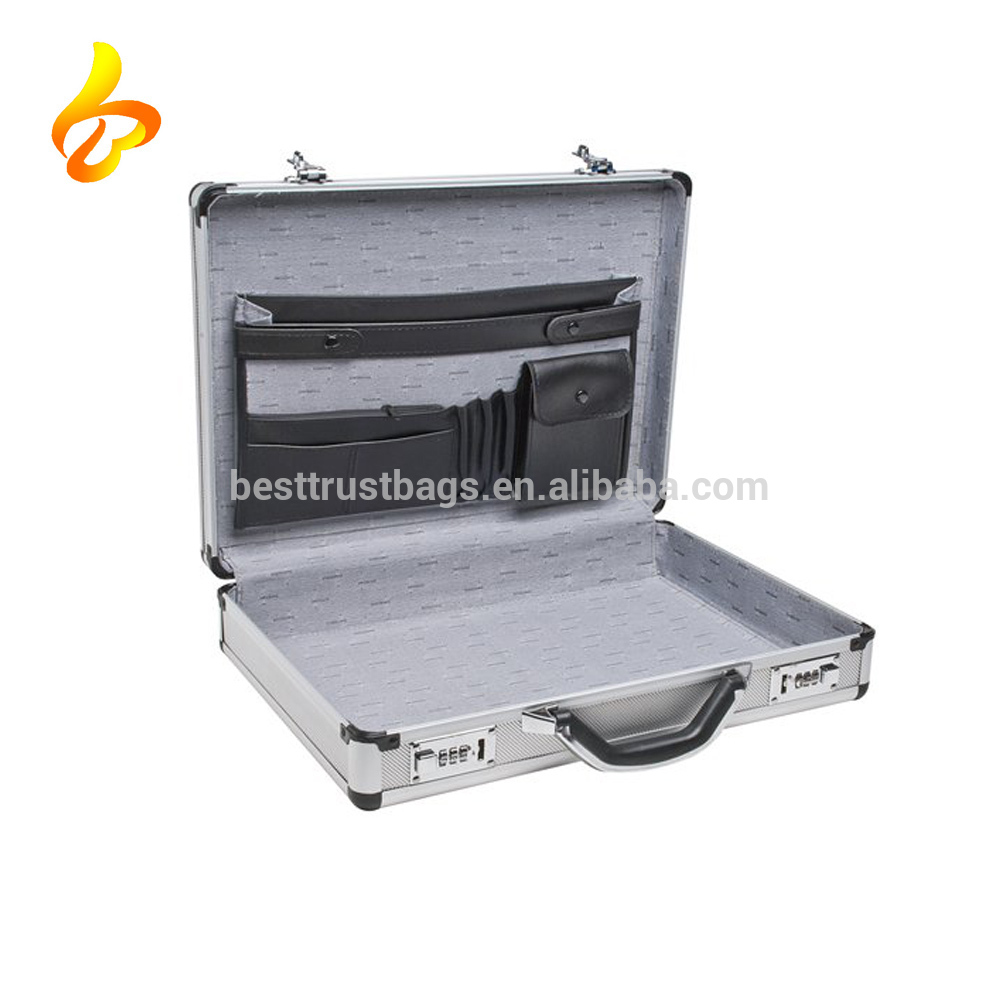 Hard Carrying Case External Aluminum Case With Clocks Silver Aluminum Briefcase
