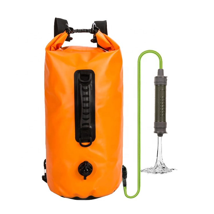 Water Filter Bag Shower Water Filtration 500D PVC Survival Dry Bag With Filter For Camping Hiking