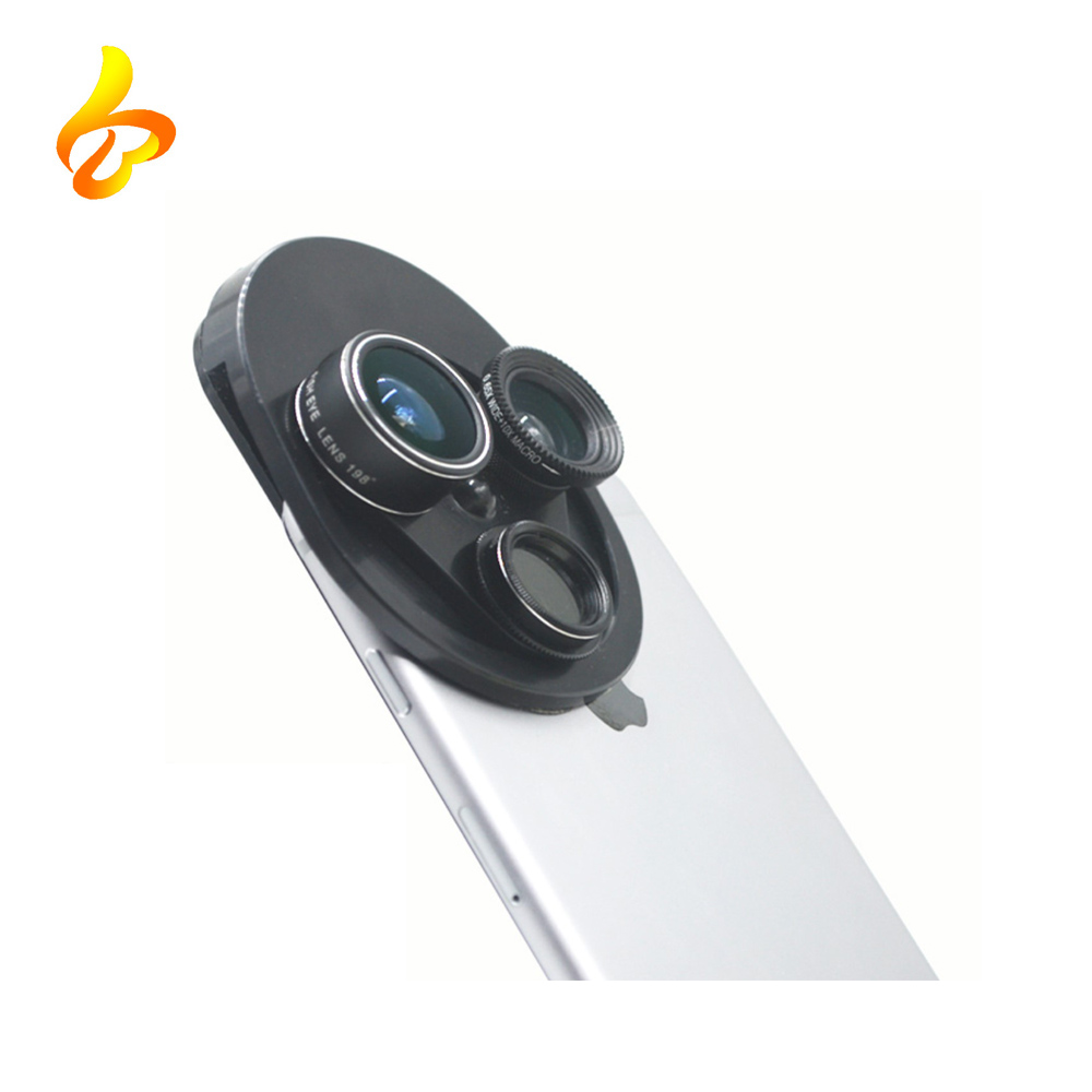 Multi-function lens Mobile Phone shell wide angle fisheyes macro lens 4 in 1 Cell Phone Camera Lens