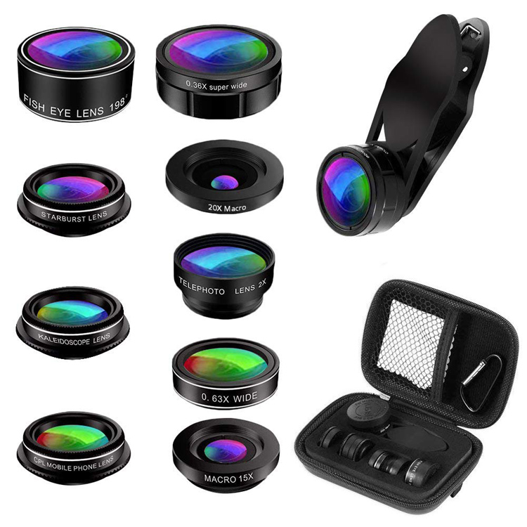 198 Degree Fisheye CPL Kaleidoscope 20x Marco 0.36 Super Wide Angle Telephoto Lens Universal 9 in 1 Zoom Smartphone Lens