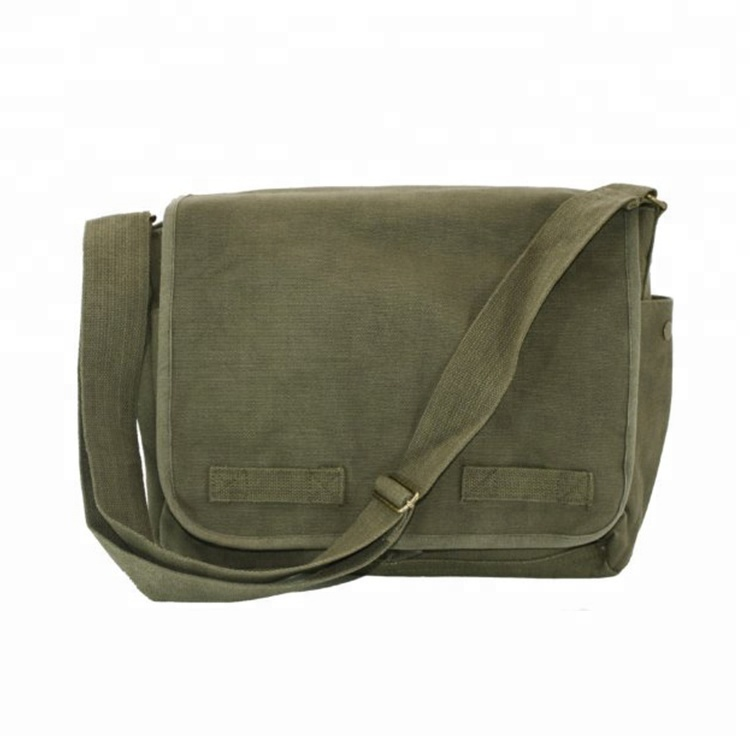Olive Green Original High Quality Oxford Classic Army Mens Messenger Bag with Army Universe Pin