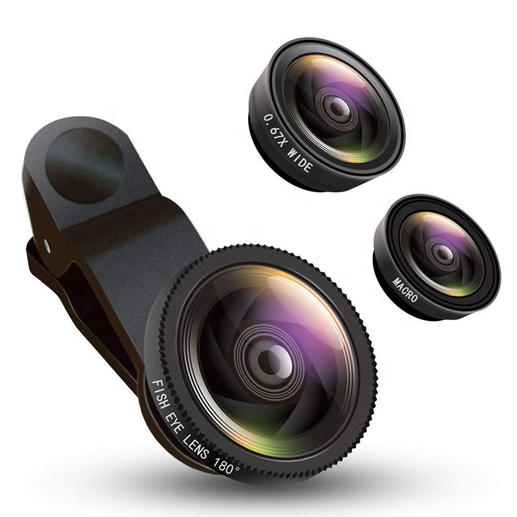 3 in 1 Camera Lens 0.67X Wide Angle Macro Lens 180 degree Fisheye Clip on Cell Phone Lens