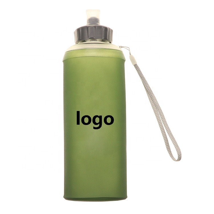 Bpa Free Water Bottle 500ml String Handle Holder Army Green Soft TPU Collapsible Flask Water Bottle